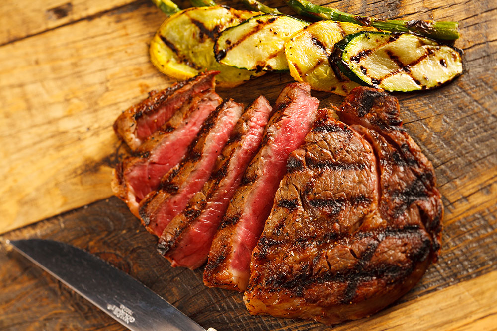 Ribeye and grilled vegetables