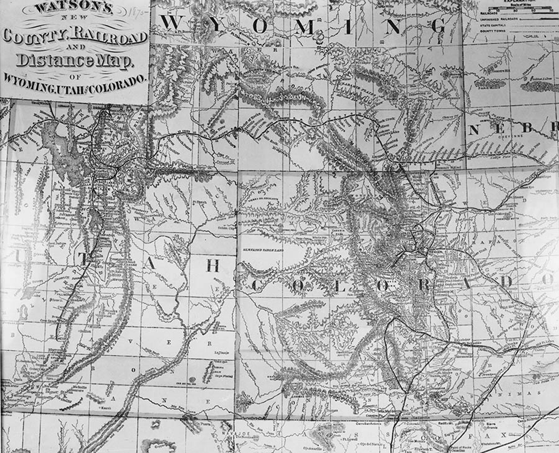 This map depicts the railroads progression through Wyoming and it's neighboring states.