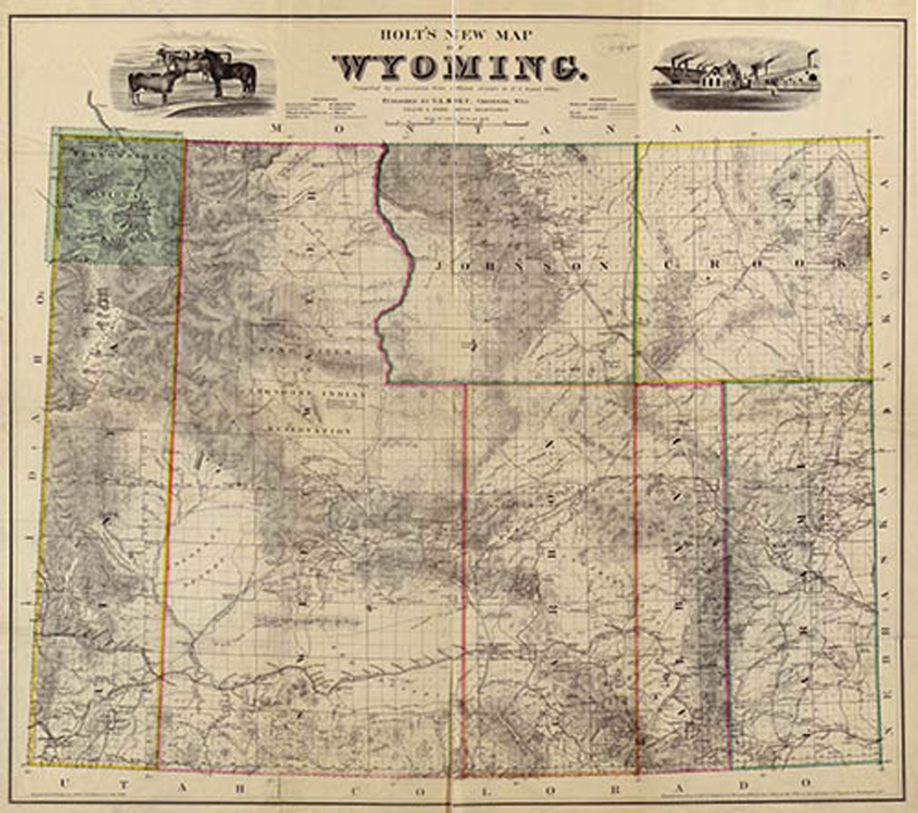 Holt's new map of Wyoming Territory created in 1883 depicts the counties that made up Wyoming. These counties were eventually decreased in size and additional counties were established.