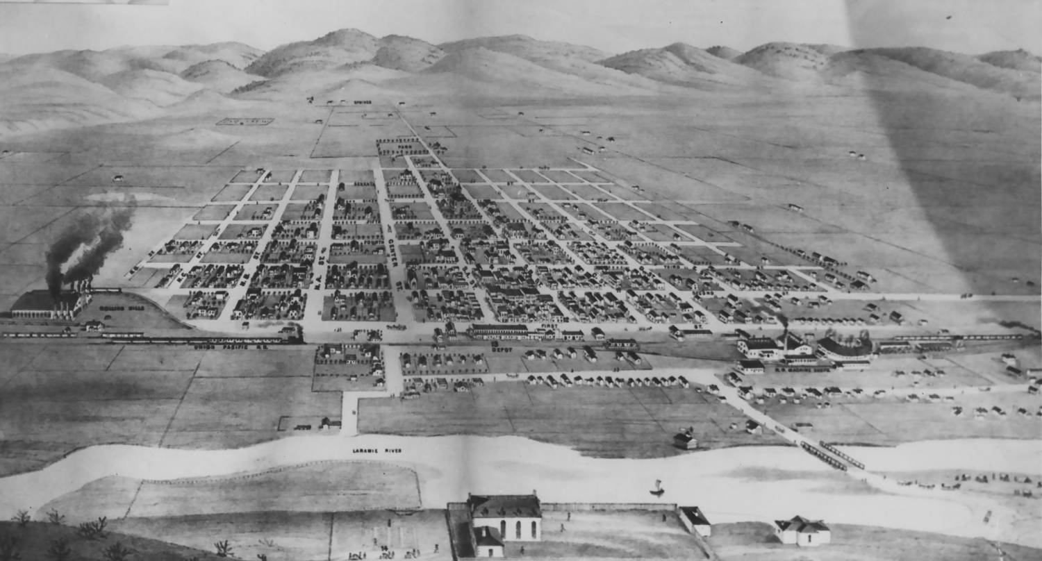 Laramie City grew very quickly becoming a major town in southeastern Wyoming. The only town larger than Laramie at this time was Cheyenne. Below is a drawing of the town in 1875. Compare it to the 1870 drawing and you can see the growth and expanse that was in the making.