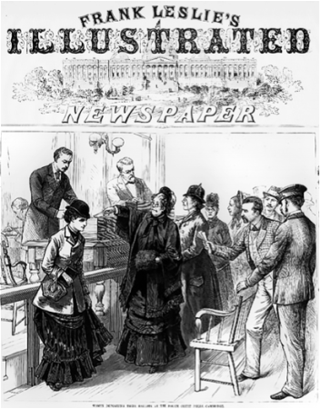 Frank Leslie Cartoon Depicting Louisa Swain casting the first ballot by a woman.